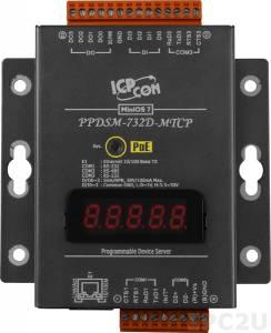 PPDSM-732D-MTCP Программируемый Преобразователь последовательных интерфейсов, 2xRS-232, 1xRS-485, Power over Ethernet, Modbus, LED-дисплей, металлический корпус