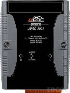 uPAC-5001 PC-совместимый промышленный контроллер 80MHz, 512KB Flash, 512KB SRAM, 16KB EEPROM, 31B NVRAM, microSD, 1xRS232, 1xRS485, 1xFastLAN, 12-48 VDC