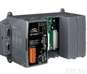 LP-8441-EN PC-совместимый промышленный контроллер Intel PXA270 520МГц, 128Mб SDRAM, 32Мб/48Mб Flash, 2xRS-232, 1xRS-485, 1xRS-232/485, 2xEthernet, 4 слота расширения, Linux 2.6.19