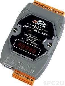 uPAC-7186EXD-SM PC-совместимый промышленный контроллер 80МГц, 512кб Flash, 640кб SRAM, 2xRS232/485, 10/100M Ethernet, MiniOS7, LED дисплей
