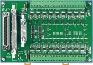 DB-24C/DIN Выносная плата 24 изолированных выхода с открытым коллектором, совместима с Opto-22, 50-контактный плоский кабель 1,5 м, монтаж на DIN-рейку