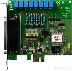 PEX-P8R8i PCI Express X 1 адаптер 8DI с гальванической изоляцией, 8 реле