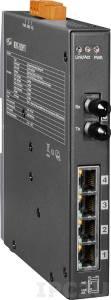 NSM-205PFT-24V Индустриальный коммутатор с 4 портами 10/100 Base-T Ethernet, 4xPoE, один оптический канал, разъем ST, 24 В, металлический корпус