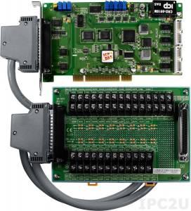 PCI-1800HU/S Многофункциональный адаптер Universal PCI, 16SE/8D каналов АЦП, FIFO, 2 канала ЦАП, 16DI, 16DO, таймер, разъем CA-4002x1
