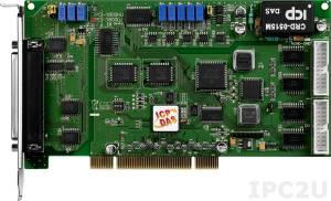 PCI-1800LU Многофункциональный адаптер Universal PCI, 16SE/8D каналов АЦП, FIFO, 2 канала ЦАП, 16DI, 16DO, таймер, разъем CA-4002x1