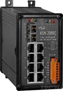 NSM-209FC Промышленный 8-портовый неуправляемый коммутатор: 7 портов 10/100 BaseT Ethernet, 1 порт 100BaseFX (многомодовое волокно, разъем SC, до 2 км), металлический корпус