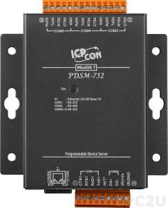 PDSM-752 Программируемый Преобразователь последовательных интерфейсов с 4 портами RS-232 и 1 портом RS-485, металлический корпус