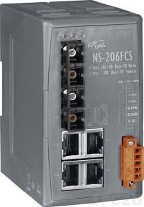 NS-206FCS Промышленный 6-портовый неуправляемый коммутатор: 4 порта 10/100 Base-T Ethernet, 2 порта 100BaseFX (одномодовое волокно, разъем SC, до 30 км), пластиковый корпус