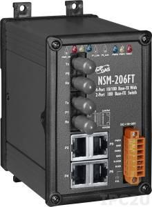 NSM-206FT Промышленный 6-портовый неуправляемый коммутатор: 4 порта 10/100 Base-T Ethernet, 2 порта 100BaseFX (многомодовое волокно, разъем ST, до 2 км), металлический корпус
