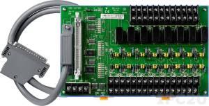 DB-16P8R/D/DIN Выносная плата 16 дискретных входов AC/DC с изоляцией и 8 реле с перекидными контактами(220Vac/30Vdc@5A), кабель CA-3710 1м, монтаж на DIN-рейку