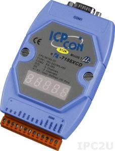 I-7188XCD-512 PC-совместимый промышленный контроллер 20МГц, 512кб Flash, 128кб SRAM, шина расширения, 3xDI/3xDO, 1xRS485, 1xRS232/485, MiniOS7, кабель CA-0910Fx1