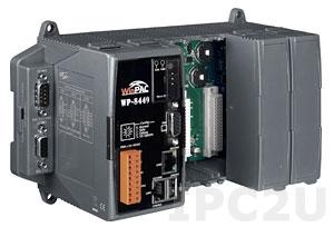 WP-8449-EN PC-совместимый промышленный контроллер PXA270 520МГц, 128Mб SDRAM, 96Mб Flash, 2xRS-232, 1xRS-485, 1xRS-232/485, 2xEthernet, 4 слота расширения, Win CE 5.0, Indusoft 300 тегов