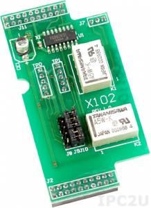X102 Плата расширения для контроллеров серии I-7188XC(D), 2 канала с реле