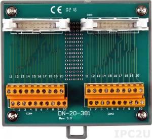 DN-20-381 Плата клеммников с двумя 20-контактными разъемами (шаг 3.81мм), монтаж на DIN-рейку, до 50В
