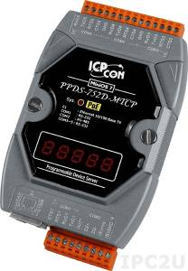 PPDS-752D-MTCP Программируемый Преобразователь последовательных интерфейсов, шлюз Modbus TCP в Modbus RTU/ASCII, 4xRS-232, 1xRS-485, POE, 7 - сегментный индикатор