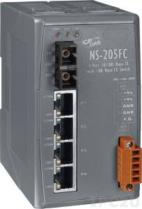 NS-205FC Промышленный 5-портовый неуправляемый коммутатор: 4 х 10/100 BaseT(X), 1 х 100BaseFX (многомодовое волокно, разъем SC, до 2 км), пластиковый корпус, 0...+70С