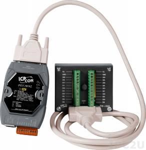 PET-7019Z/S2 Модуль ввода-вывода, 10 каналов аналогового ввода или сигнала с термопары: J. K. T. E. R. S.B. N. C. L. M, L(DIN)43710 / 4 канала дискретного вывода, PoE, плата DB-1822, кабель 1.8м