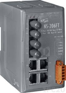 NS-206FT Промышленный 6-портовый неуправляемый коммутатор: 4 порта 10/100 Base-T Ethernet, 2 порта 100BaseFX (многомодовое волокно, разъем ST, до 2 км), пластиковый корпус