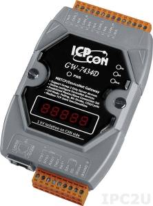 GW-7434D Шлюз Modbus TCP server в DeviceNet Master, 1xRS-232, 1xRS-485, 2xCAN