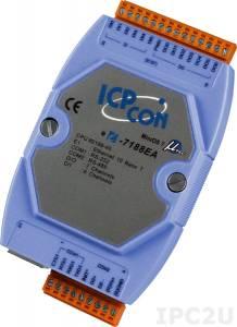I-7188EA PC-совместимый промышленный контроллер 40МГц, 512кб Flash, 512кб SRAM, Ethernet, 1xRS232, 1xRS485, 6DI, 7DO, кабель CA-0910x1