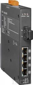 NSM-205PFCS-24V Индустриальный коммутатор с 4 портами 10/100 Base-T Ethernet, 4xPoE, один оптический канал, разъем SC, 24 В, металлический корпус