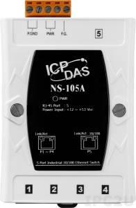 NS-105A Промышленный 5-портовый неуправляемый коммутатор 10/100 BaseT(X) Ethernet, в пластиковом корпусе, питание +12...+53 VDC, -40...+75С