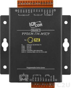 PPDSM-734-MTCP Программируемый Преобразователь последовательных интерфейсов, 1xRS-232, 1xRS-485, 1xRS-422/485, Power over Ethernet, Modbus, металлический корпус