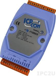 I-7188XG PC-совместимый промышленный контроллер 40МГц, 512кб Flash, 512кб SRAM, шина расширения, 1xDI/1xDO, 1xRS485, 1xRS232/485, ISaGRAF, кабель CA-0910x1