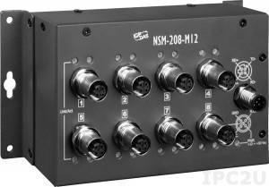NSM-208-M12 Промышленный 8-портовый неуправляемый коммутатор: 8 портов 10/100 Base-T Ethernet, разъемы M12, EN 50155, IP40