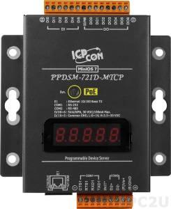 PPDSM-721D-MTCP Программируемый Преобразователь последовательных интерфейсов, 1xRS-232, 1xRS-485, Power over Ethernet, Modbus, LED-дисплей, металлический корпус