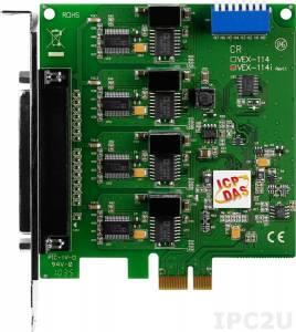 VEX-114i PCI Express адаптер 4xRS-232 115.2кбод с изоляцией