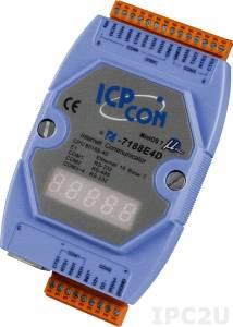I-7188E4D Программируемый Преобразователь последовательных интерфейсов, 3xRS-232, 1xRS-485, 7-сегментный индикатор