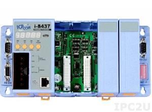 I-8437-80 PC-совместимый промышленный контроллер 80МГц, 512кб SRAM, 512кб Flash, 2xRS232, 1xRS232/485, Ethernet 10BaseT, 7-сегментный индикатор, 4 слота расширения, Mini OS7, ISaGRAF 3.5