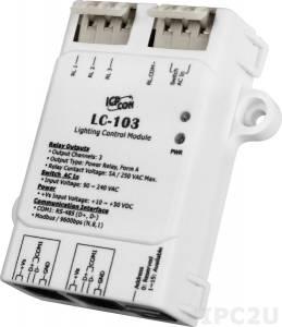 LC-103 Модуль управления освещением, 1 канал дискретного ввода, 3 канала релейного вывода, DCON, Modbus RTU