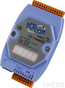 I-7188EGD PC-совместимый промышленный контроллер 40МГц, 512кб Flash, 512кб SRAM, Ethernet, 1xRS232, 1xRS485, 7-сегментный индикатор, ISaGRAF, кабель CA-0910x1