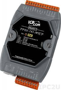 PPDS-743-MTCP Программируемый Преобразователь последовательных интерфейсов, шлюз Modbus TCP в Modbus RTU/ASCII, 3xRS-232, 1xRS-485, 4xDI/4xDO, POE