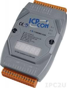 I-7188XBD-CAN PC-совместимый промышленный контроллер 40МГц, 512кб Flash, 256кб SRAM, 1xDI/1xDO, 2xRS232/485, CAN, 7-сегментный индикатор, MiniOS7