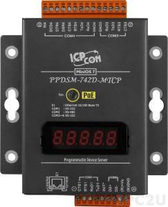 PPDSM-742D-MTCP Программируемый Преобразователь последовательных интерфейсов, 3xRS-232, 1xRS-485, Power over Ethernet, Modbus, LED-дисплей, металлический корпус