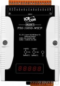 PDS-5105D-MTCP Программируемый Преобразователь последовательных интерфейсов, 2 порта Ethernet c LAN Bypass, 1xRS232/RS485, 9xRS485, шлюз Modbus TCP Slave в Modbus RTU/ASCII Master