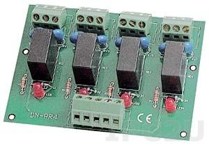 DN-PR4/N Выносная плата 4 силовых реле(250Vac/30Vdc@5A), без крепления на DIN-рейку.