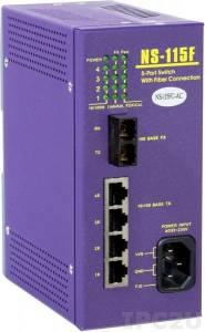 NS-115FC-AC Промышленный 5-портовый неуправляемый коммутатор: 4 х 10/100 BaseTX Ethernet, 1 х 100 BaseFX (многомодовое оптоволокно, SC разъем, до 2 км), +85 ~ +230VAC, 0...+50С