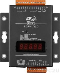 PDSM-743D Программируемый Преобразователь последовательных интерфейсов с 3 портами RS-232 и 1 портом RS-485, 4 каналами дискретного ввода и 4 каналами дискретного вывода, LED-дисплей, металлический корпус