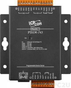 PDSM-743 Программируемый Преобразователь последовательных интерфейсов с 3 портами RS-232 и 1 портом RS-485, 4 каналами дискретного ввода и 4 каналами дискретного вывода, металлический корпус