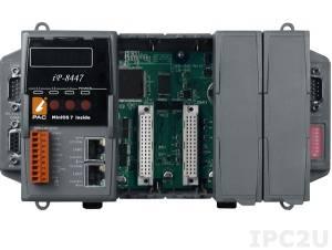 iP-8447 PC-совместимый промышленный контроллер 80МГц, 512кб Flash, 768кб SRAM, 2xLAN, 2xRS232, 1xRS485, 1xRS232/485, 7-сегментный индикатор, 4 слота расширения, Mini OS7, ISaGRAF 3.5