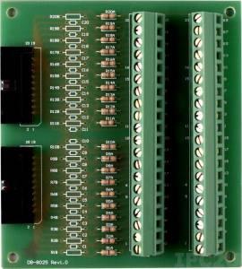 DB-8025 Плата клеммников с 2 разъемами IDC-20