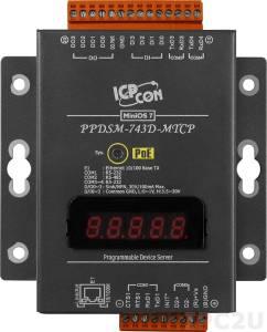 PPDSM-743D-MTCP Программируемый Преобразователь последовательных интерфейсов, 3xRS-232, 1xRS-485, Power over Ethernet, Modbus, LED-дисплей, металлический корпус