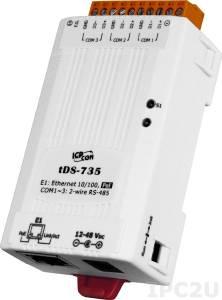 tDS-735 Преобразователь RS-485 в Ethernet, 3xRS-485, PoE