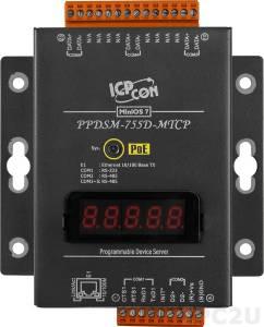 PPDSM-755D-MTCP Программируемый Преобразователь последовательных интерфейсов, 1xRS-232, 4xRS-485, Power over Ethernet, Modbus, LED-дисплей, металлический корпус