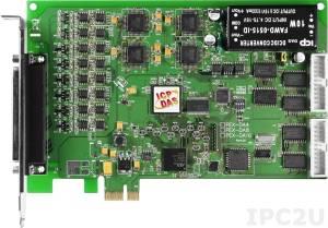 PEX-DA4 PCI Express адаптер 16 каналов дискретного ввода, 16 каналов дискретного вывода, 4 канала аналогового вывода, счетчик/таймер