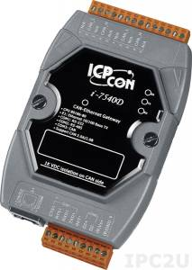 I-7540D Конвертер CAN в Ethernet, 1xCAN, 1xLAN, 1xRS-232, 1xRS-485, изоляция, пластиковый корпус